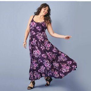 Torrid Plus Size 1X Floral Challis Maxi Tank Dress